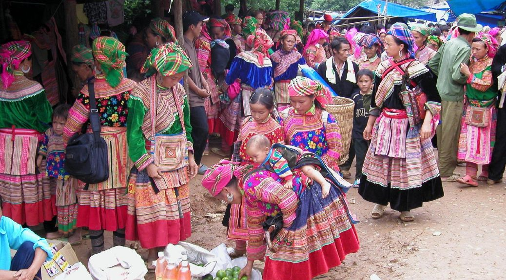 Flower Hmong women in traditional dress