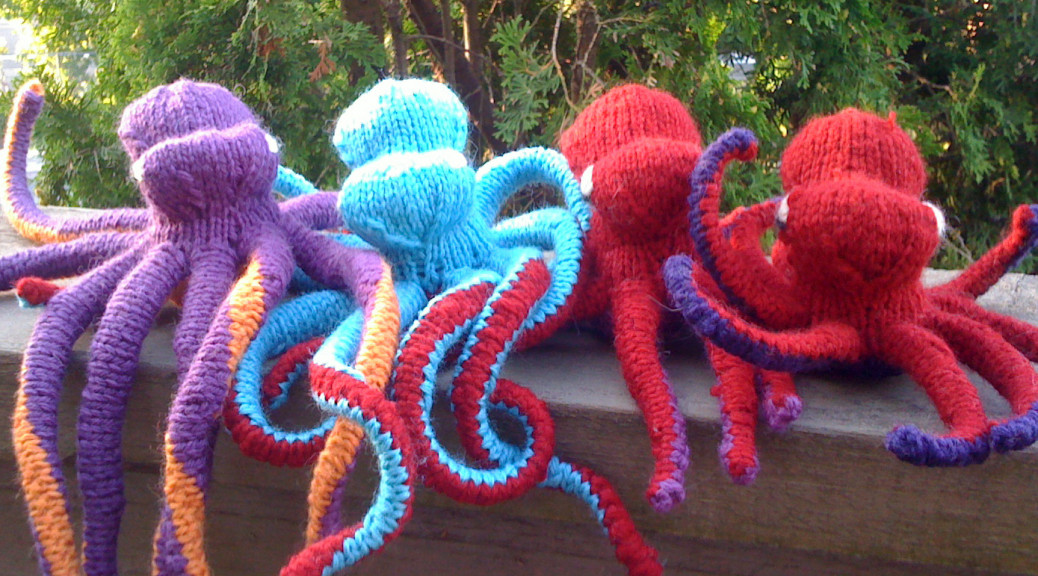 Knit octopus group photo